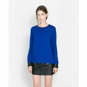 ZARA Women Blue Blouse with Faux Leather Trim